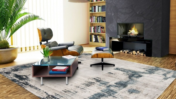 fine rug by modern fireplace
